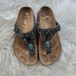 Sam Edelman beaded Annalee T strap sandals